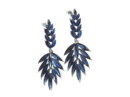 Cercei lungi, pietre albastre model frunze Oh La La